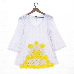 Free People White Lace Tunic with Yellow Daisies